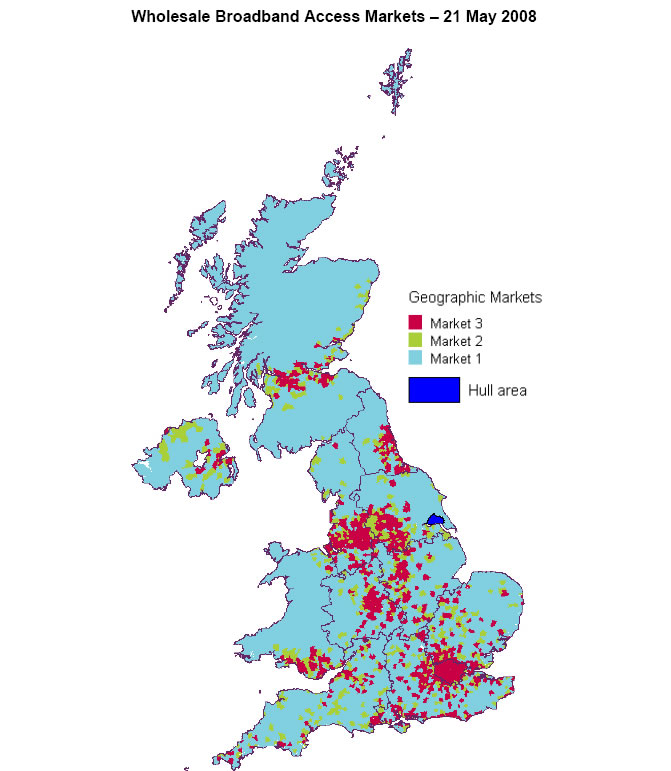 Ofcom broadband map - market 1, 2 and 3 - 2008